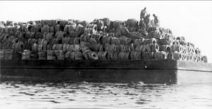 Barco cargado de neumáticos para crear un arrecife artificial