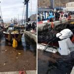 Operaciones de varado de la embarcación quemada